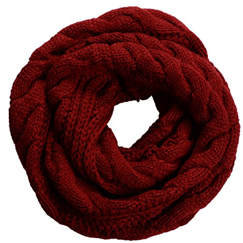 NEOSAN Womens Thick Ribbed Knit Winter Infinity Circle Loop Scarf Twist Claret