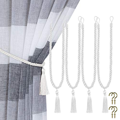 Home Queen Decorative Tassel Rope Tie Backs for Window Curtain, Hand Knitting Buckle Cord Drapery Tieback, Set of 4, Silver White