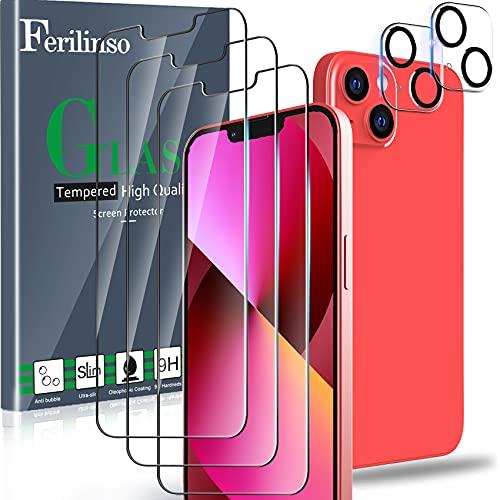 Ferilinso Protector de Pantalla Diseñado para iPhone 13, 3 Piezas HD Cristal Templado con 2 Piezas Protector de Lente de cámara, Funda Amistoso, Dureza 9H, 6.1 Pulgadas 5G, Sin Burbujas