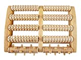 """HOME-X Roller Foot Massage, Wooden Massage Roller to Relieve Foot Pain, Plantar Fasciitis, and Heel and Arch Pain, Five Roller Bars, 10 ¾"""" L x 7 ¼"""" W x 2' H, Natural"""