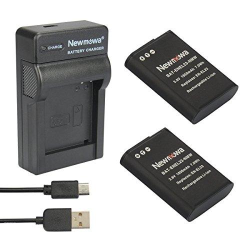 Newmowa EN-EL23 Reemplazo Batería (2-Pack) y Kit Cargador Micro USB portátil para Nikon EN-EL23 y Nikon Coolpix P600,S810C,Coolpix P900