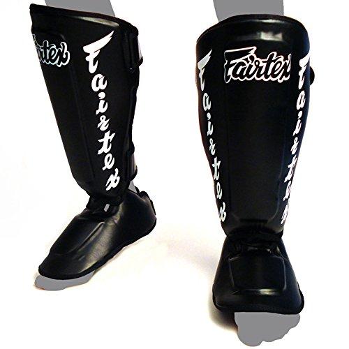Fairtex SP7 Twister abnehmbare Schienbeinschoner für Thaiboxen, Muay Thai, MMA, Schützende Schienbeinschoner für Wettkampf, Kickboxen (Schwarz, Größe XL)