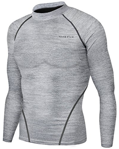 New Men Sports Apparel Long Sleeves Shirts Skin Tights Compression Base Under Layer Top (XL, NT004 Gray)