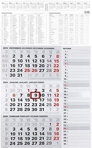 2020 Kombi 3-Monatskalender großer Wandkalender für Büro Dreimonatskalender NEU