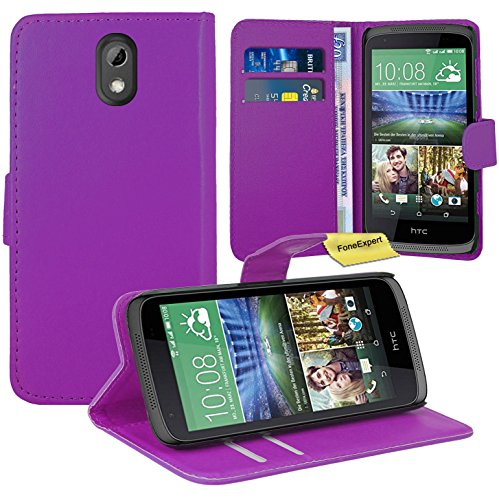 HTC Desire 526G Handy Tasche, FoneExpert® Wallet Hülle Flip Cover Hüllen Etui Ledertasche Lederhülle Premium Schutzhülle für HTC Desire 526G (Lila)