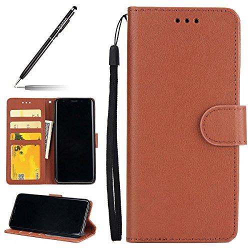 Uposao Kompatibel mit Handyhülle Galaxy S9 Handy Schutzhülle Brieftasche Handytasche Lederhülle Ledertasche Retro Herren Flip Case Klapphülle Bookstyle Tasche mit Kartenfächer,Braun