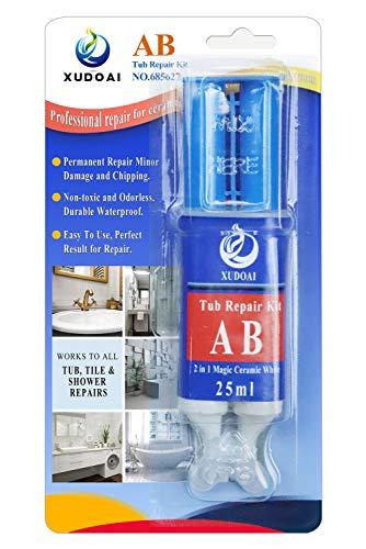 XUDOAI Reparatur-Set für Badewanne und Fliesen, 25 ml, weiß, für Glasfaser und Keramik, 2 Teile, Oberflächenreparatur, Verschleiß, wasserfester Klebstoff für interne und externe Risse