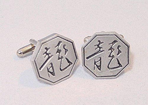 Boutons de Manchette Année Chinoise du Dragon avec Boîte à Cadeau