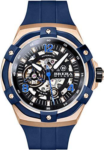 Brera Milano Reloj de hombre Superdeportivo Evo de 45 mm, con caja de acero de oro rosa, esfera negra – bisel azul, correa de goma natural azul, deployant oro rosa, cód. Bmssas4502a
