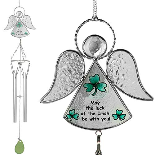 BANBERRY DESIGNS Irish Angels Wind-Chimes - Glass Angel with Hand-Painted Designs and Hanging Windchimes - Green Shamrocks and May The Luck of The Irish be with You Saying - Garden Chimes Ireland