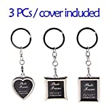 Mini Photo Keychain Set - 3PCs Small Blank Picture Frame Stainless Steel Personalized Key Rings Love Souvenir Pictures Holder Detachable Key Chains Sterling Elegant Personal DIY Photos Keyring Pack