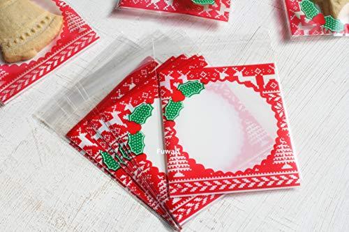 【Fuwari】 クリスマス 袋 小袋 ラッピング お菓子 クッキー チョコレート 100枚 包装袋 小分け プレゼント 用 C(�A)