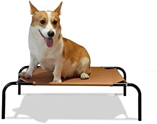 Neala Elevated Cot Bed for Cats and Dogs Portable Cooling Washable Dog Cat Bed Polyester Fabric Breathable Mesh Pet Bed Iron Frame Easy Clean Rest Bed Cot Indoor Outdoor Travel