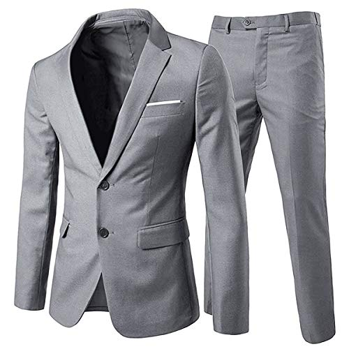 Anzug Herren Anzug 2 Teilig Slim Fit Herrenanzug Hochzeit Anzüge Herren Modern Sakko für Business (L, Hellgrau(2 Knöpfe))