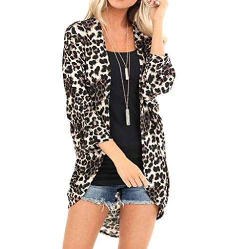 Bumplebee Leopard Mantel Damen Lang Elegant Cardigan Damen Lang Windbreaker Herbst Winter Warm Strickjacken Lang Damen Winterparka Langarm Overcoat Mode Trenchcoat Übergangsparka Oberteile Top