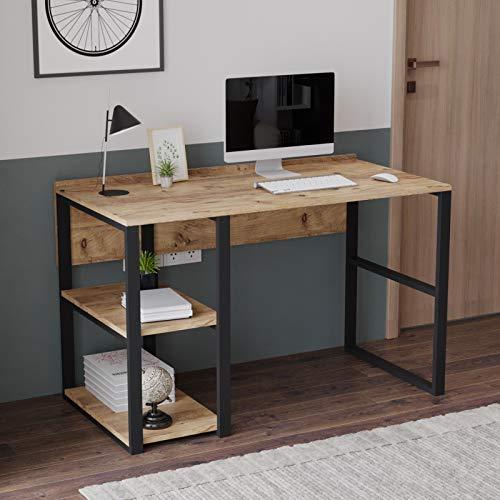 Yurupa Vintage Schreibtisch Computertisch Arbeitstisch Bürotisch mit Metallrahmen, Büro, Arbeitzimmer, Wohnzimmer im Industrial Design Holzoptik ML8-A