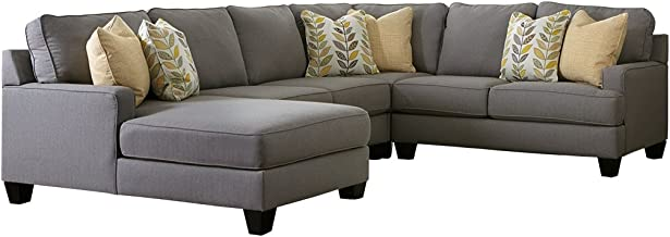 Ashley Furniture Signature Design - Chamberly 4-Piece Sectional - Right Arm Facing Loveseat, Armless Loveseat, Wedge, and Left Arm Facing Corner Chaise - Gray