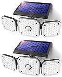 JOMARTO Solar Motion Lights Outdoor,3 Head Security Lights with Motion Sensor,Adjustable 112 LED Flood Lights Waterproof270° Wide Angle Security Lights for Porch Garden Patio Yard Backyard (2PCS)