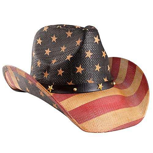 Vamuss Men's Vintage USA American Flag Cowboy Hat w/Western Shape-It Brim, Tea Stained Black Band