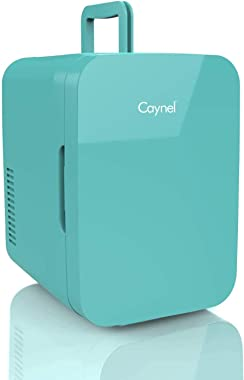 Caynel Mini Fridge Cooler and Warmer, (6 Liter / 8 Can) Portable Compact Personal Fridge, AC/DC Thermoelectric System, 100% F