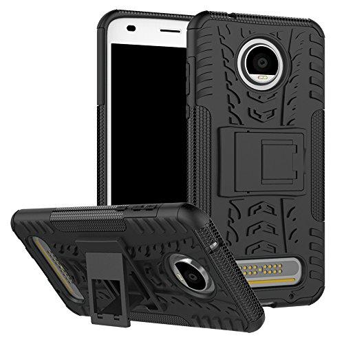 SCIMIN Capa para Motorola Moto Z2 Play, capa híbrida para Moto Z2 Play, capa rígida híbrida de camada dupla à prova de choque com suporte integrado para Motorola Moto Z2 Play de 5,5 polegadas [não serve para Moto Z Play]