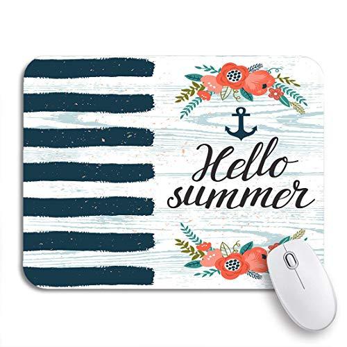 Gaming Mouse Pad Sea Blue Streifen Anker Blumen Zweige und Text Hallo 9,5 'x 7,9' rutschfeste Gummi Backing Computer Mousepad für Notebooks Maus Matten