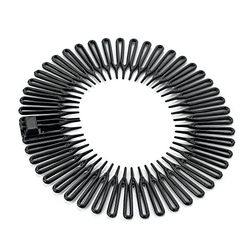 Pack of 1 Black Plastic Flexi Comb Zig Zag Sports Headband Hair Band By Mytoptrendz