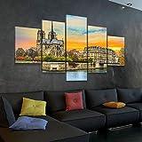 45Tdfc Lienzo en Cuadro Abstracto Moderno200x100cm Impresión Notre Dame de Paris en otoño Puesta de Sol 5 Piezas Material Tejido no Tejido Impresión Artística Imagen Gráfica Decoracion de Pared Arte