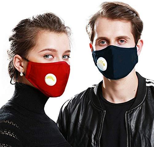 2 Algodón lavable reutilizable con válvula de respiración con 10 filtros de carbón activado,gases de escape, antialérgico polen, PM2.5, correr, ciclismo