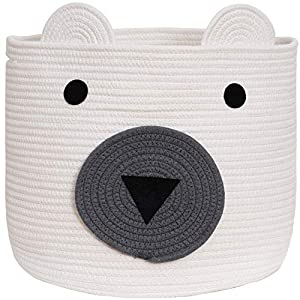 VK Living Cotton Rope Bear Animal Basket Foldable Large Woven Storage Basket Baby Nursery Cute Laundry Hamper for Toys,Blanket, Towels Clothes in Bedroom Living Room White 18″x15″