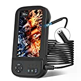Borescope Inspection Camera, SKYBASIC 1080P HD 8mm Industrial Endoscope Waterproof Snake Camera, 4.5 Inch IPS Screen, 6 LED Lights, Detachable Semi-Rigid Cable, 32GB TF Card, Four Accessories (16.5FT)