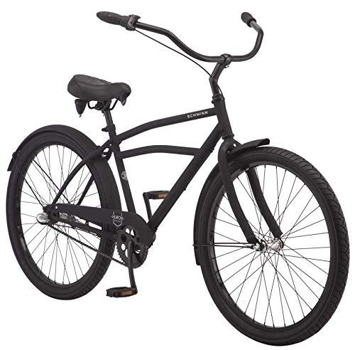Schwinn Huron Adult Beach Cruiser Bike, Featuring 17-Inch/Medium Steel Step-Over Frames, 3-Speed Drivetrains, Black