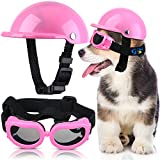 Pet Dog Helmet and Dog Goggles Set 4 Inch Padded Pet Motorcycle Helmet Dog Sunglasses Safety Pet Cap Dog Hard Hat Adorable Puppy Goggles with Adjustable Belt for Small Dog Riding,S Size (Pink)