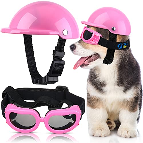 Pet Dog Helmet and Dog Goggles Set 4 Inch Padded Pet Motorcycle Helmet Dog Sunglasses Safety Pet Cap Dog Hard Hat Adorable Puppy Goggles with Adjustable Belt for Small Dog Riding Outdoor (Pink)
