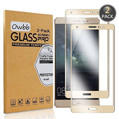 Owbb [2 Pezzi] Gold Vetro Temperato Pellicola Per Huawei Mate S Full Coverage Protettiva Protezione 9H Durezza 99% Alta Trasparente