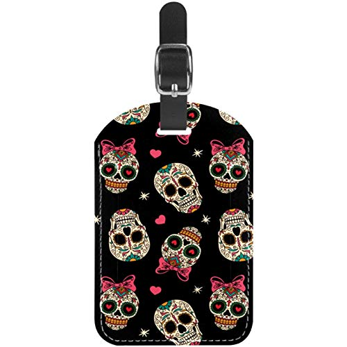 Etichette per bagagli Bling Mexican Skull in pelle da viaggio etichette per valigie 1 confezioni