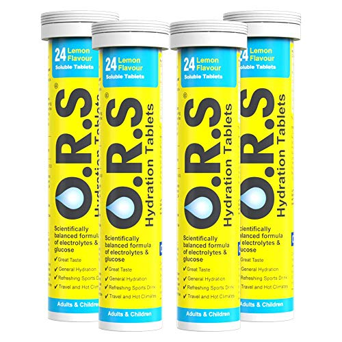 O.R.S Hydration Tablets with Electrolytes, Vegan, Gluten and Lactose Free Formula – Natural Lemon Flavour, 96 Tablets (Pack of 4 x 24)