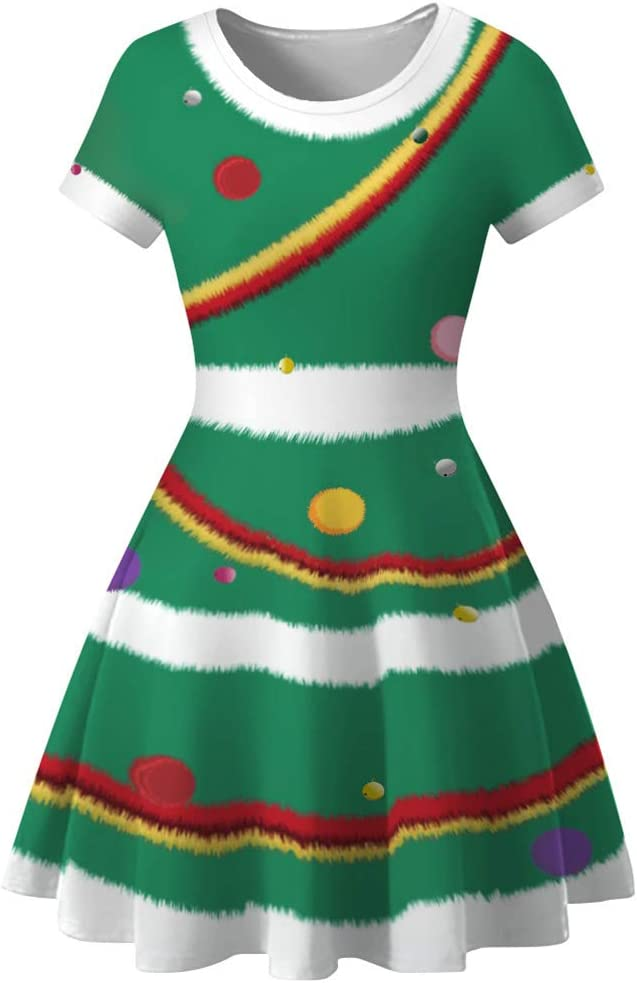 ABOOFAN Stylish Christmas Dress Digital Ladies Slim Big Swing Skirt Round Neck Short Sleeve Christmas Eve Dress Size M (Green)