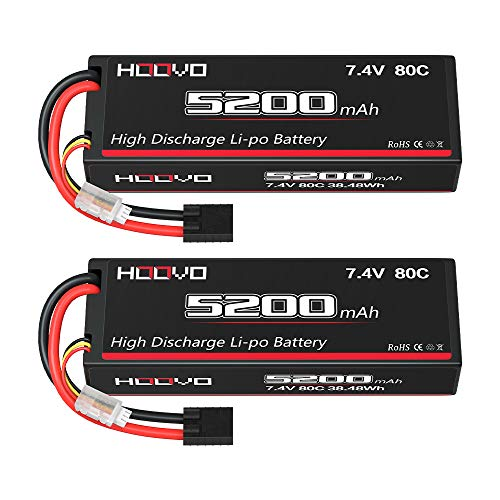 HOOVO 2S 7.4V 5200mAh 80C Lipo Battery Hard Case with Tr Plug for Popular RC Car RC Helicopter Quadcopter UAV Drone FPV Traxxas Slash Buggy Team Associated(2 Packs)