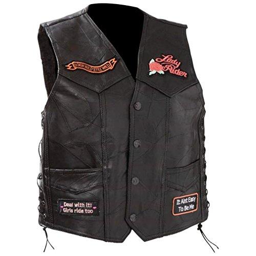 Diamond Plate Womens Leather Motorcycle Vest Black S