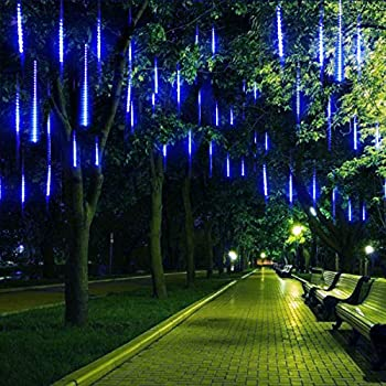 Winkeyes LED Meteor Shower Lights 11.8 inch 8 Tubes 192 LED String Lights Waterproof Double-Sided SMD Lamp Beads Curtain Lights Hanging Decorative Lamps for Bar Christmas Tree Garden Square