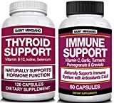 Thyroid Support Supplement with Iodine |120 Capsules to Help Body Mass & Improve Energy - TOGETHER WITH - Immune Support containing 27 Natural Ingredients Vit to Give Your Body a Powerful Immunity Boo