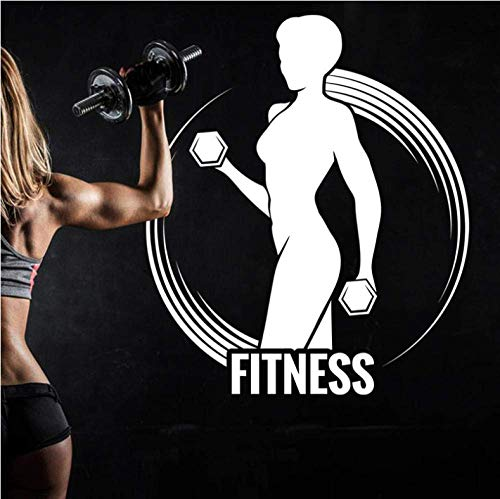 Gym naamsticker meisjes halters decal fitness crossfit body building affiche vinyl wandsticker, 40 x 46 cm