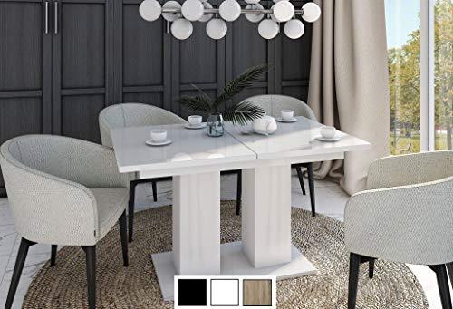 Design Esstisch Tisch DE-1 Hochglanz ausziehbar 130/170 cm (Weiß Hochglanz)