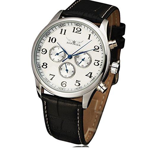 JARAGAR Relojes Classic para Hombre automático Fecha automática Reloj mecánico Self-Winding analógico Esqueleto Negro Piel Hombre Reloj de Pulsera