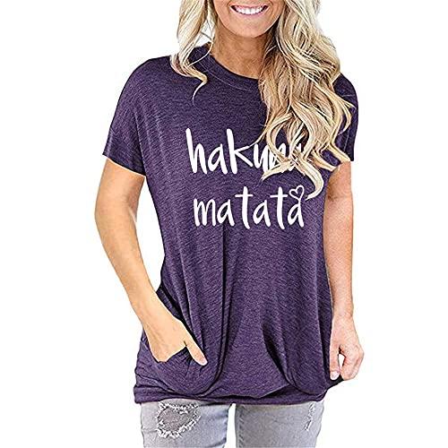 Blusa Mujer Camiseta Mujer Elegante Moda Carta Estampado Cuello Redondo Manga Corta Vacaciones De Verano Casual Elegante Fecha Dulce Mujeres Top Mujeres Shirt L-Purple M