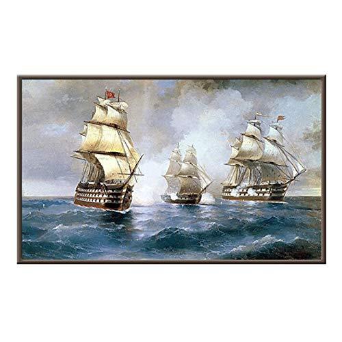 Jcnfa Druck Poster für Segelboote auf dem Meer, Retro-Seekriegs-Szene, Leinwand-Wandkunst-Plakat, für Schlafzimmer Büro Wanddekor, kein Rahmen (Color : 01, Size : 40 * 60cm/16 * 24inch)