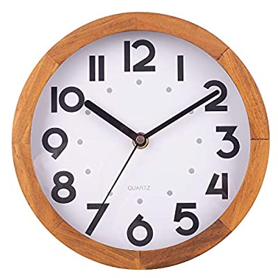 BEW Wooden Wall Clock, Small Vintage Retro Decorative Wall Clock, Silent Non-Ticking Analog Round Hanging Clock for Bedroom, Living Room, Kitchen, Cafe, Office - 8 Inch, Pine Wood