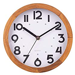 BEW 8 Inch Small Wooden Wall Clock, Vintage Decorative Wall Clock, Silent Non-Ticking Analog Round Hanging Clock for Bedroom, Living Room, Kitchen, Cafe, Office, Pine Wood