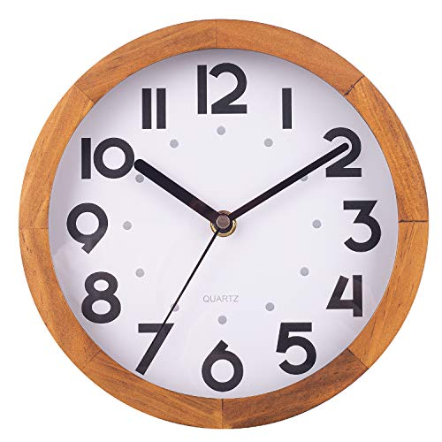 BEW Holz-Wanduhr, klein, Vintage, Retro, dekorative Wanduhr, geräuschlos, nicht tickend, analog, rund, hängende Uhr für Schlafzimmer, Wohnzimmer, Küche, Café, Büro – 20,3 cm, Kiefernholz